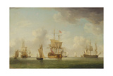 English Ships under Sail in a Very Light Breeze Giclee Print by Charles Brooking