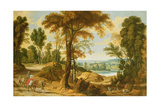 A Wooded River Landscape with Figures on a Road Giclee Print by Jan Wildens