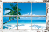 Tropical Beach Window Póster