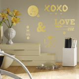 Gold Love with Hearts and Arrows Wall Decal