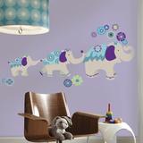 Waverly Teal & Purple Elephant Autocollant mural