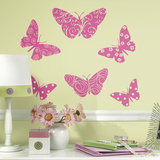 Flocked Butterfly  Wall Decal
