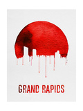 Grand Rapids Skyline Red Poster