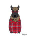 Scottish Terrier in Pin Plaid Shirt Print by Olga Angellos