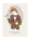 Fox Man in Pin Suit Prints by Olga Angellos