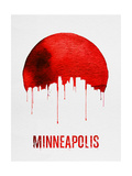 Minneapolis Skyline Red Prints