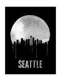 Seattle Skyline Black Prints