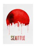 Seattle Skyline Red Posters