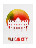Vatican City Landmark Red Poster