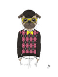 Pug in Hipster Style Prints by Olga Angellos