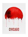 Chicago Skyline Red Posters
