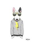 Bull Terrier in City Style Art by Olga Angellos