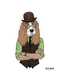 Basset Hound in Retro Style Prints by Olga Angellos