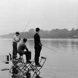 Fishing in the Serpentine 1957 Photographic Print by  Staff