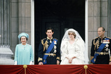 Prince Charles and Lady Diana Spencer with Queen Elizabeth Ii and Prince Philip, Buckingham Palace Fotografisk tryk af Staff