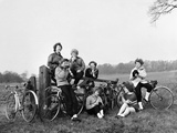 Girls Cycling 1951 Photographic Print by Daily Mirror