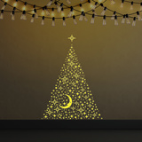 Christmas Glow in the Dark Moon & Stars Decalcomania da muro