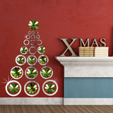 Christmas Mirror Art & 3D Green Mirror Flowers Wall Decal