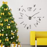 Giant Silver Clock & 3D Mirror Butterflies Kalkomania ścienna