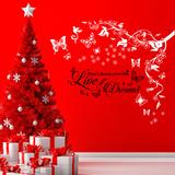 Christmas Butterflies Vine & Dream Quote Muursticker