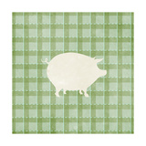 Farm Pig on Plaid Posters by Elizabeth Medley