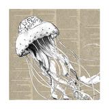 Underwater Newsprint Creatures I Print by  A Fresh Bunch