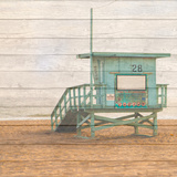 Lifeguard House on Wood Photographic Print by Susan Bryant
