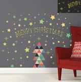 Christmas Triangle & Glow in the Dark Stars Muursticker