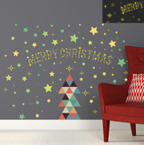 Christmas Triangle & Glow in the Dark Stars Decalcomania da muro