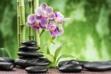 Spa Concept with Zen Basalt Stones ,Orchid and Bamboo Photographic Print by  scorpp