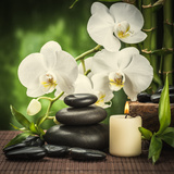 Spa Concept with Zen Basalt Stones and Orchid Reproduction photographique par  scorpp