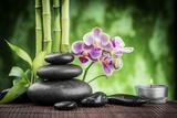 Spa Concept Zen Basalt Stones ,Orchid and Candle Reproduction photographique par  scorpp