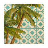 Beach Palm Turquoise Pattern I Giclée-Premiumdruck von Patricia Pinto