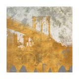 NY Gold Bridge at Dusk I Premium Giclee Print by Dan Meneely