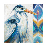Blue Heron Ikat I Posters by Patricia Pinto
