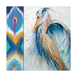 Blue Heron Ikat II Prints by Patricia Pinto