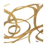 Golden Swirls Square I Premium Giclee Print by Patricia Pinto