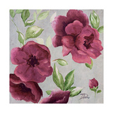 Gray and Plum Florals I Premium Giclee Print by Patricia Quintero-Pinto