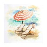 Umbrella on the Beach I Giclée-Premiumdruck von Patricia Pinto