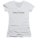 Juniors: Superman- Daily Planet Logo V-Neck Shirts