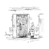 In an elevator a sign reads, Please Observe an Awkward Silence.  - New Yorker Cartoon Premium Giclee Print by Barbara Smaller