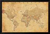 Carta geografica mondiale, vintage Stampe