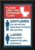 Clean Bathrooms Ladies Gentlemen Sign Art Print Poster Poster