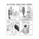 A panel of Ill-Advised Sesame Street Parodies -- Fifty Shades of Cookie.  - New Yorker Cartoon Premium Giclee Print by Emily Flake