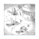 Airplanes on a runway match their wings to the shapes dictated by air-traf... - New Yorker Cartoon Premium Giclee Print by John O'brien
