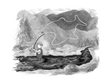 A fly fisherman casts back a reel that forms the shape of a giant fish abo... - New Yorker Cartoon Premium Giclee Print by Tom Toro