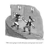"""We're never going to resolve this if you won't get your own sword."" - New Yorker Cartoon Regular Giclee Print par Joe Dator"