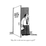 """""""Hey, Ed—is the next one a guy or a girl?"""" - New Yorker Cartoon Premium Giclee Print by Mick Stevens"""