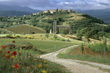 Abbey of Sant' Antimo, Tuscany. Hill Town of Castelnuovo Dell' Abate in Background Photographic Print by Joe Cornish