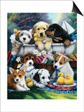 Bath Time Pups Prints by Jenny Newland